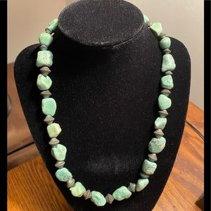 natural green turquoise nugget necklace